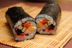 Finished roll of maki Royalty Free Stock Photo