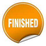 Finished sticker. Finished round sticker isolated on wite background. finished Stock Image