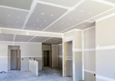 Finished Sheetrock in New Home. Construction Royalty Free Stock Photos