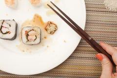 Finished with Sushi stock photos