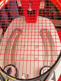 Finished Tennis racquet freshly strung on a electronic stringing machine Stock Photo