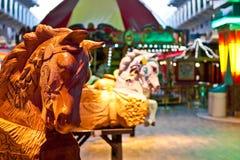 Finished and Unfinished Carousel Horses Stock Photo