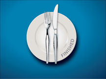Finished. White empty plate with fork and knife on light blue tablecloth, Finished concept, Illustrator, Vector Stock Images