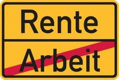 Finished work - Retirement starting - german village sign. Vector Stock Image