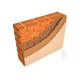 Finishing brick wall plaster. 3d illustration. Finishing brick wall plaster, wall construction manual Royalty Free Stock Photography