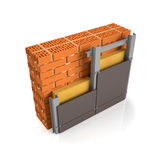 Finishing brick wall tiles. 3d illustration. Finishing brick wall tiles, wall design manual Royalty Free Stock Photo