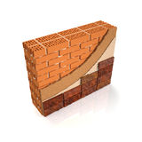 Finishing brick wall tiles. 3d illustration. Finishing brick wall tiles, wall design manual Stock Image