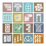 Construction and finishing materials, icons, shading pencil, white, color, vector. Finishing of buildings and premises. Construction icons. Flat, square Royalty Free Stock Photos