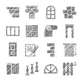 Construction and finishing materials, icons, shading pencil, vector. Finishing of buildings and premises. Construction icons. Vector monochrome picture. Hatch Royalty Free Stock Images