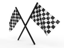 Finishing checkered flag. 3d Royalty Free Stock Photos