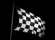 Finishing checkered flag. On black background Royalty Free Stock Photos