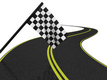 Finishing checkered flag and road. 3d Royalty Free Stock Photography