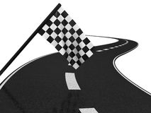 Finishing checkered flag and road. 3d Royalty Free Stock Photos