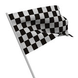 Finishing checkered flag on white background. Isolated 3D image Royalty Free Stock Photo