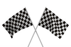 Finishing checkered flag on white background Royalty Free Stock Image