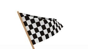Finishing checkered flag on white background stock footage