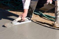 Finishing Concrete Sidewalk Royalty Free Stock Photography