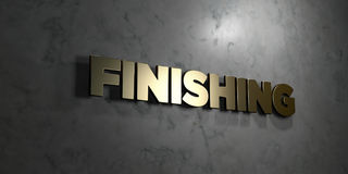 Finishing - Gold text on black background - 3D rendered royalty free stock picture. This image can be used for an online website banner ad or a print postcard Royalty Free Stock Images