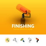Finishing icon in different style. Finishing color icon, vector symbol in flat, outline and isometric style isolated on blur background Royalty Free Stock Photo