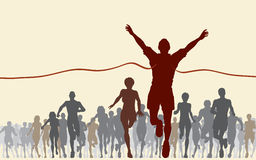 Finishing line. Editable  illustration of a man winning a race Royalty Free Stock Images