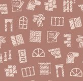 Finishing materials, construction, seamless pattern, pencil hatching, brown, color, vector. Finishing of premises and buildings. Color, flat background Royalty Free Stock Photos