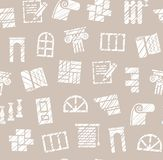 Finishing materials, construction, seamless pattern, pencil hatching, gray, vector. Finishing of premises and buildings. Plain, flat background. Hatching with a Stock Image
