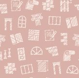 Finishing materials, construction, seamless pattern, pencil hatching, pink, color, vector. Finishing of premises and buildings. Color, flat background. Hatching Royalty Free Stock Photography