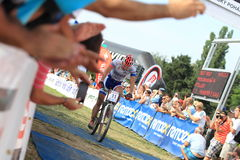 Finishing Pavel Boudny - MTB cross country Royalty Free Stock Photography