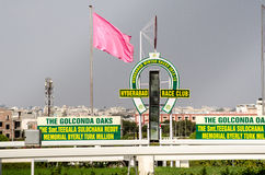 Finishing Post, Hyderabad Race Club. HYDERABAD, ANDHRA PRADESH, INDIA - JANUARY 6: View of the finishing post which racehorses aim to be the first to cross at Royalty Free Stock Photography