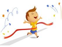 Finishing runner. Vector illustration of finishing sportsmen who run through red ribbon Royalty Free Stock Photo