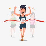 Finishing runner character design with other behind. Winning Cha. Mpion concept -  illustration Royalty Free Stock Image