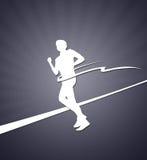 Finishing runner white silhouette on the grey Stock Image
