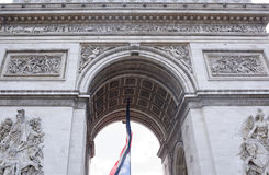 Finishing the triumphal arch on the Champs Elysees Royalty Free Stock Photo