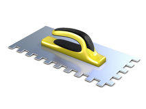 Finishing trowel with yellow black rubber handle Stock Images