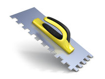 Finishing trowel with yellow black rubber handle. 3D. Render  on white background Stock Image