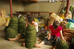 Finishing the Vietnamese military helmets Stock Image