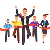 Finissage d'homme d'affaires d'abord dans une course du marché illustration de vecteur