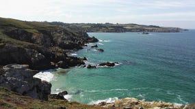 Finistere brzegowa pobliska nakrętka Sizun w Brittany, Francja, Europa obrazy stock