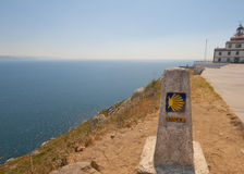 Finisterre,加利西亚,西班牙晴朗的看法  免版税库存图片