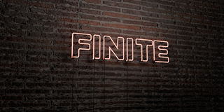 FINITE -Realistic Neon Sign on Brick Wall background - 3D rendered royalty free stock image Stock Image