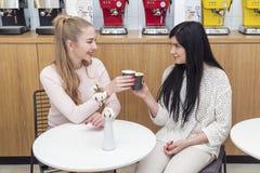 Finka för två kvinnor av kaffe royaltyfri bild