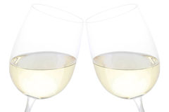 Finkaexponeringsglas med vitwine Royaltyfri Fotografi