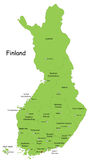 Finland. Map designed in illustration with the 20 regions colored in green colors and with the main cities. Neighbouring countries  are in an additional format Stock Photo