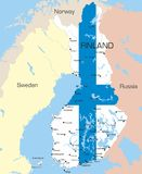 Finland. Abstract vector color map of Finland country coloured by national flag Stock Photos