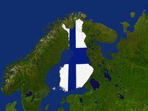 Finland. Highlighted Satellite Image Of Finland With The Countries Flag Covering It Stock Image