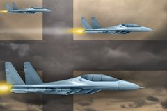 Finland air forces strike concept. Air planes attack on Finland flag background. 3d Illustration. Finland air strike concept. Modern war airplanes attack on Royalty Free Stock Photography
