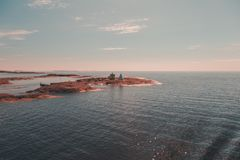 Finland Aland, buitenmariehamn is de oude proefpost Kobba Klintar Nu dagen is er een museum op het eiland royalty-vrije stock afbeeldingen