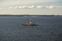 Finland, Archipelago of Turku, lighthouse Rajakari at the seaway that divides the route to Naantali and Turku Stock Photography