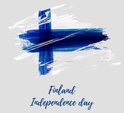 Finland background with flag. Finland background with grunge watercolored flag. Independence day template design. Template for invitation, poster, flyer, etc Stock Photography