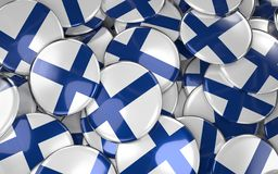 Finland Badges Background - Pile of Finnish Flag Buttons. 3D Rendering Royalty Free Stock Photos
